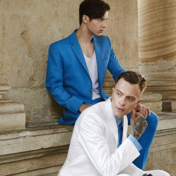 SS15 Aqua and white suit