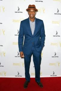 Actor J August Richards in custom DARKOH suit