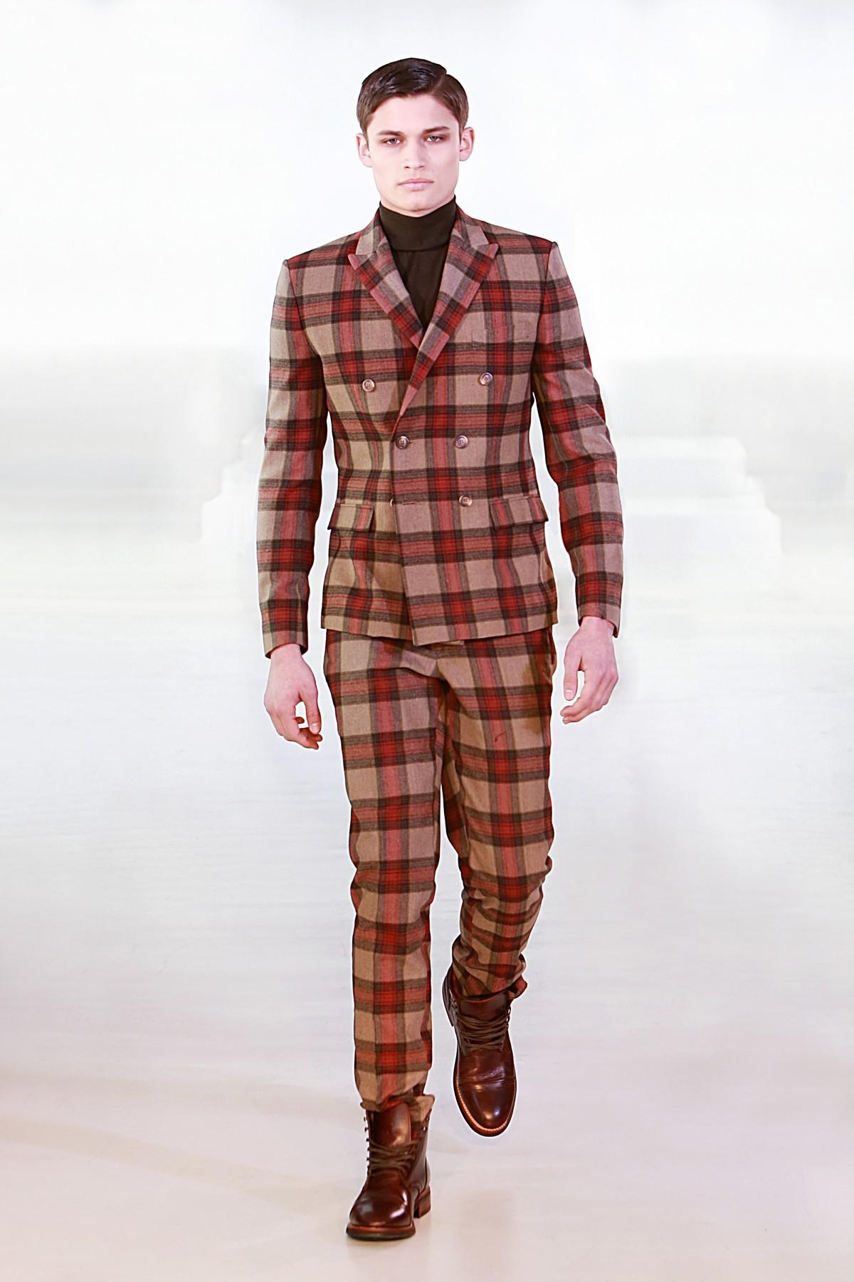 FW212242 Double-breasted Tartan Wool Suit - DARKOH
