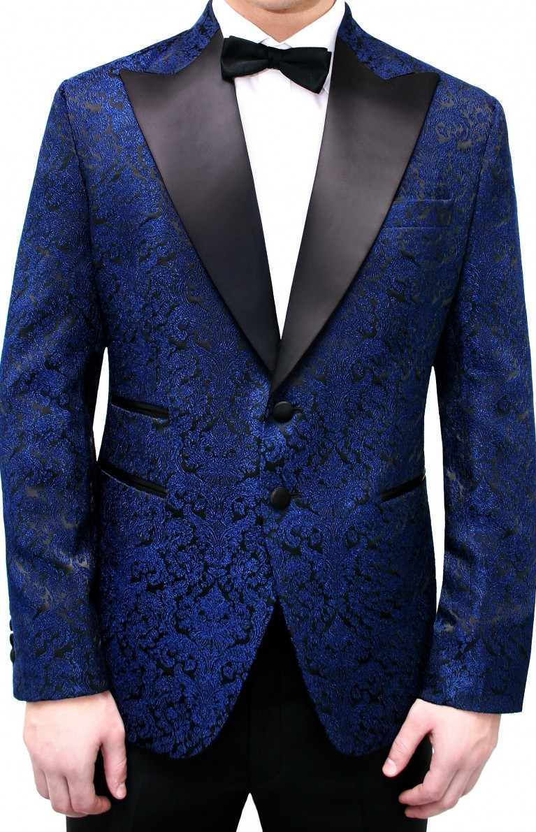 brokat jacket peak satin lapel