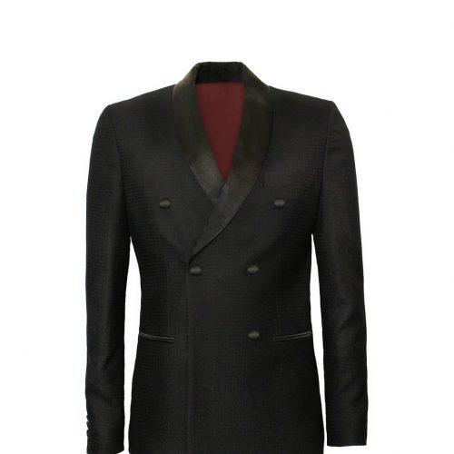 FW169031 Double-Breasted Tuxedo in Patterned Merino Wool